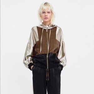 Zara Colorblock Hooded Bomber Jacket Sz S